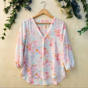 Violet + Claire V-Neck Watercolor Blouse